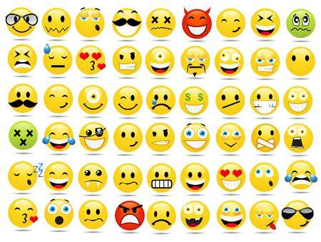 Conjunto de iconos de sonrisa ilustración vectorial