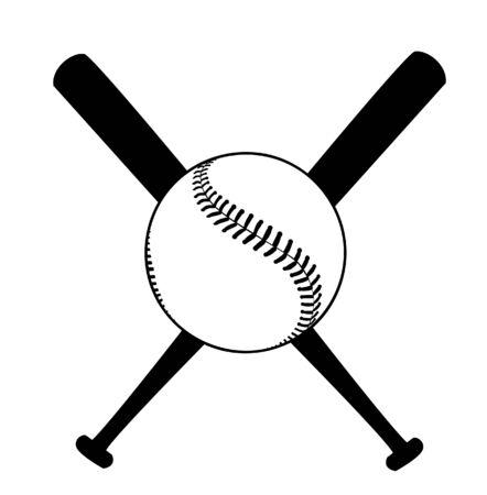 Baseball vector illustration with baseball bat Çizim