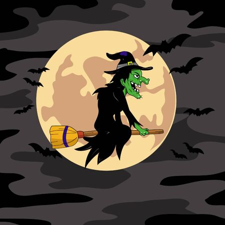 A cartoon witch flying on a broomstick Illustration