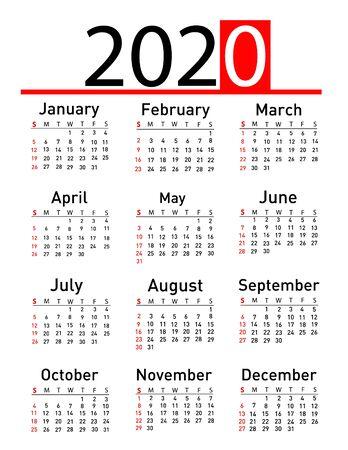Calendar for 2020 vector illustration