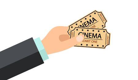 Hand holding two cinema tickets Ilustracja