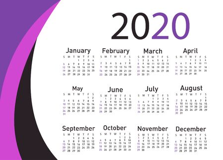 Calendar for 2020 vector illustration
