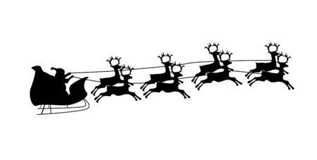 Illustration of Flying Santa and Christmas Reindeer