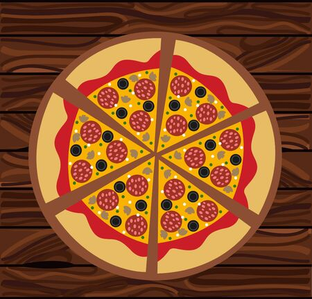 Hot Salami pizza vector illustration