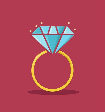 Diamond engagement ring vector illustration