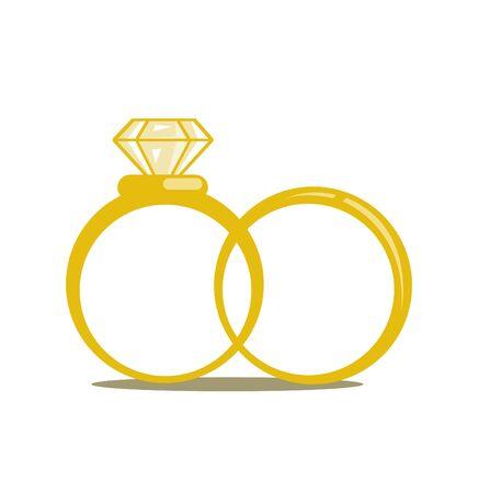 Wedding rings vector icon