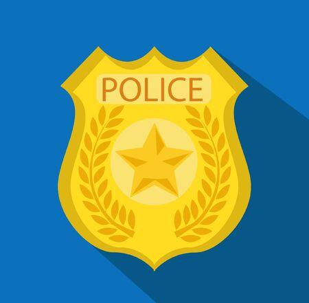 Cartoon gold police badge vector Ilustración de vector