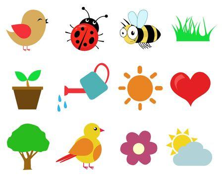 Spring design set vector illustration