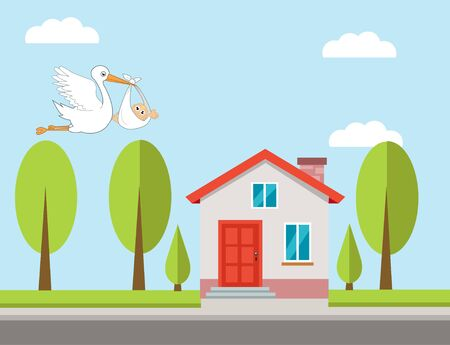 Stork and baby with house vector illustration