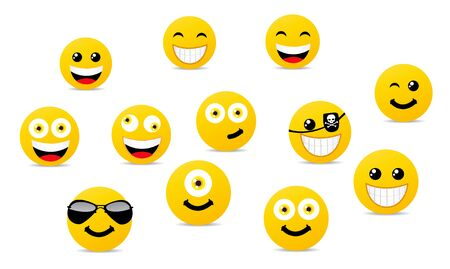 Smile icons set vector illustration