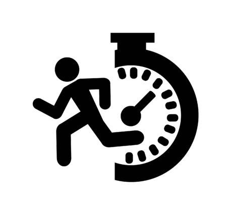 speedometer. abstract symbol of speed with running man 일러스트