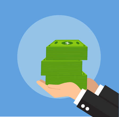 businessman giving money vector illustration