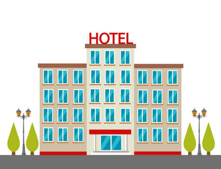 Hotel building in city space on flat style background