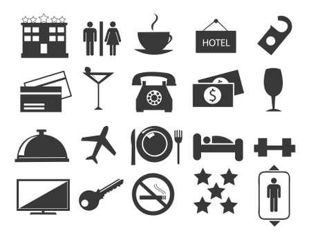 Hotel line icons set
