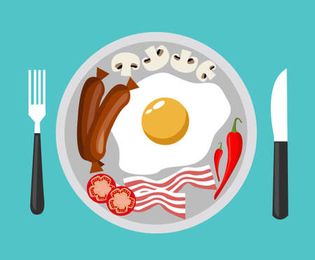 fried egg with bacon vector illustration 일러스트