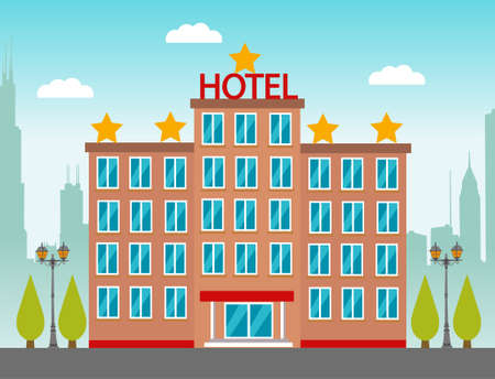 Hotel building in city space on flat syle background