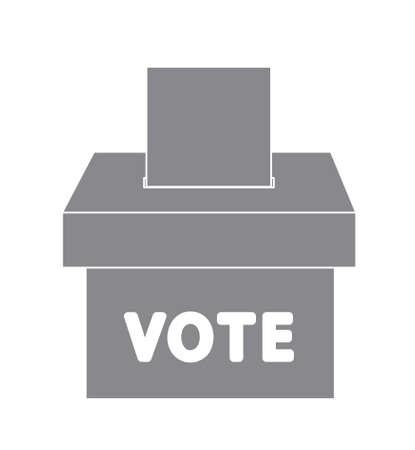 Vector of voter ballot going into a ballot box