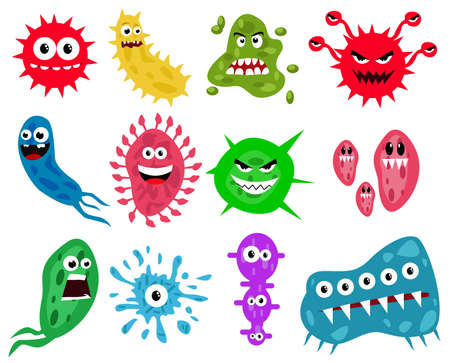 Bacteria, Microbes and Viruses Icons Set