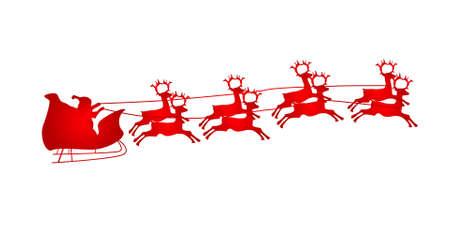Illustration of Flying Santa and Christmas Reindeer 向量圖像