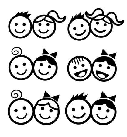 kids icon vector illustration set