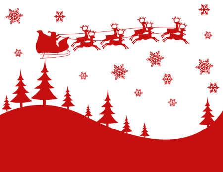 Silhouette Illustration of Flying Santa and Christmas Reindeer 向量圖像
