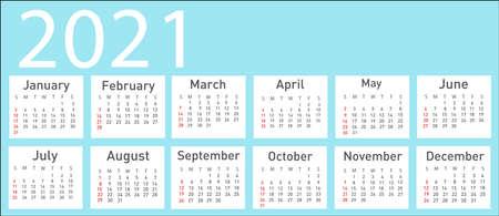 Calendar for 2021 vector illustration