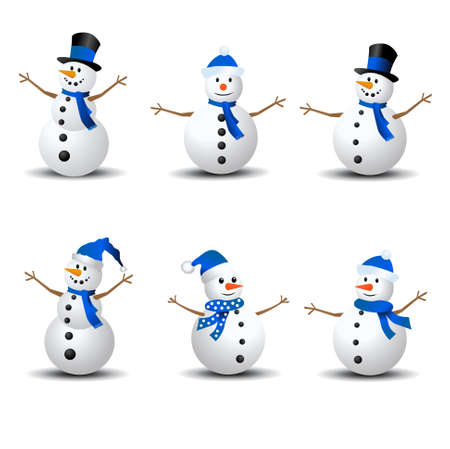 Snowman Collection. Snowman set isolated on white background 向量圖像