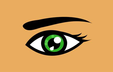 Green eye icon vector illustration art 向量圖像