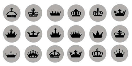 Vector illustration of different crowns 向量圖像