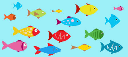 Colored Fish Icons vector