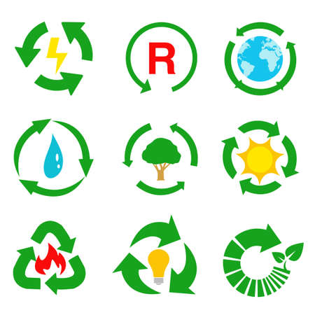 Vector recycle signs illustration