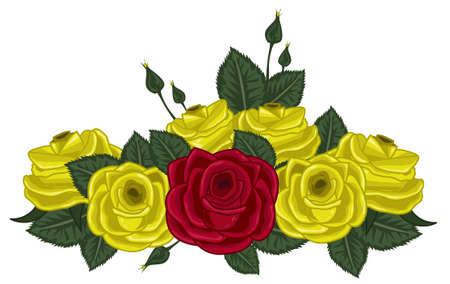 Colored roses vector illustration on white Stock Illustratie