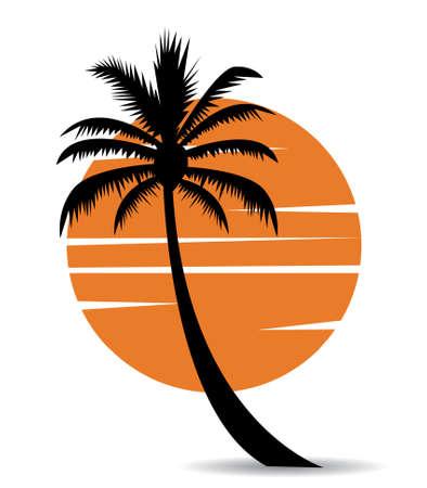 palm tree image with sun Stock Illustratie