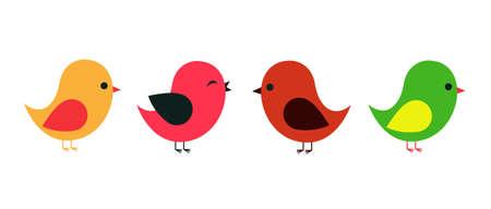 Colored Bird set vector illustration