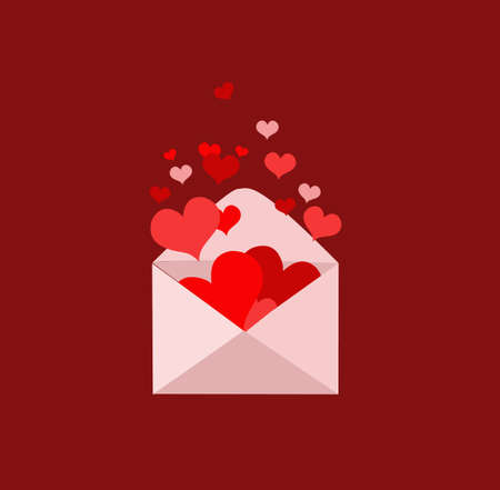 Envelope with hearts popping out