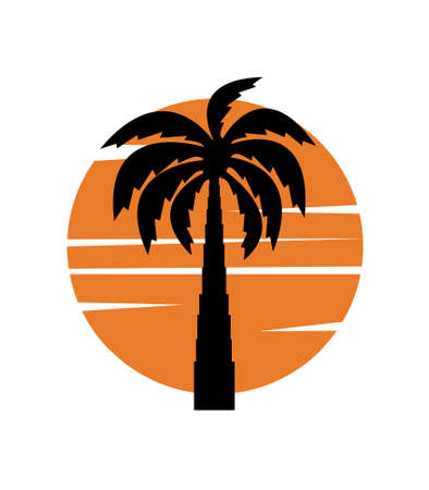 palm tree image with sun Illustration