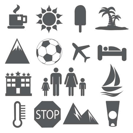 Summer and Vacation icons vector Illustration