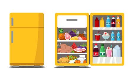 Refrigerator full of tasty food Illustration