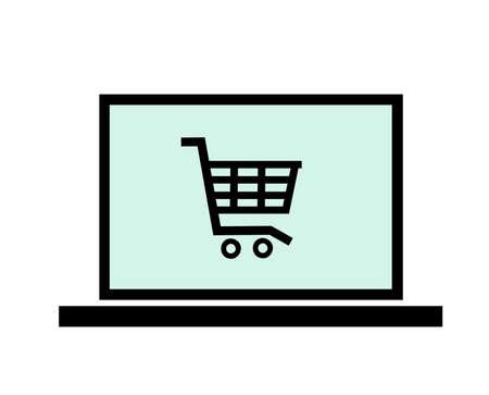Vector shopping cart icon on laptop Illustration