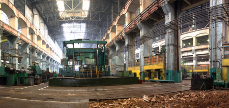 Industrial production of turbines for heavy industry. Huge steel turbine components. Industrial. Manufacture of water turbines. The huge machine turbine production. Large parts of the plant.