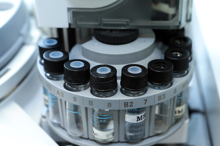 residue: Quality Control Laboratory medicine. Chromatograph operation. Bottles check on the quality of the suspension. Vials on autosampler of gas chromatography-mass spectrophotometer. Ampoules are chemical control suspension in the gas chromatograph. Gas chromat