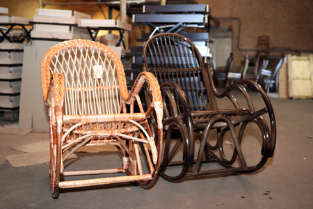 Production of furniture from the vine. Factory of creation of natural furniture. Manual production of furniture from wood. Wicker chair.