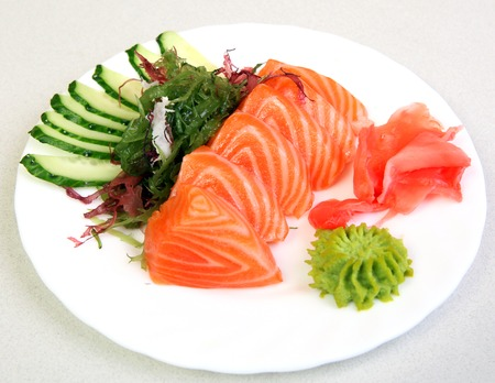 Sashimi Shak. Japanese food on a beautiful dish. Dietary food. An exquisite Japanese dish. Fresh food.