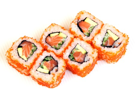 Sushi. Rolls with shrimp. Roll California with avocado. Japanese food. Healthy food is nicely laid out on a platter. Dish with rice.