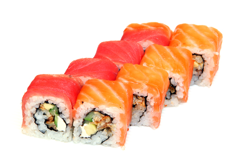 Sushi. Rolls with shrimp. Roll California with avocado. Japanese food. Healthy food is nicely laid out on a platter. Dish with rice. Diet. Imagens