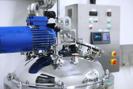 Reactors of suspensions and solutions. Manufacture of pharmaceutical industry. Production of suspensions, solutions for tablets. Reactor for manufacturing liquid, Clean room, Pharmaceutical plant, Drug manufacturing plant, Research Center, Pharmacy