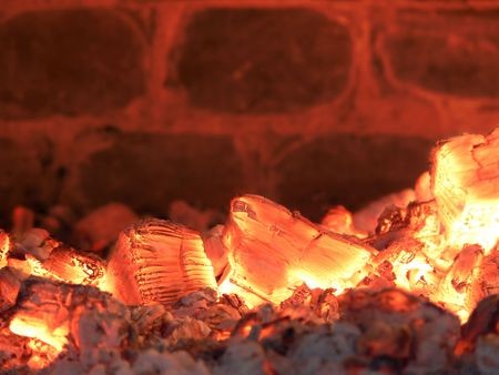 yeloow: Burning Coals Background Stock Photo