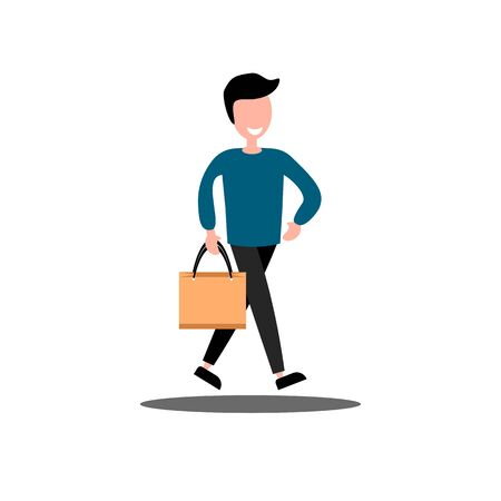 Man with shopping bag on white background. Vector, Illustration