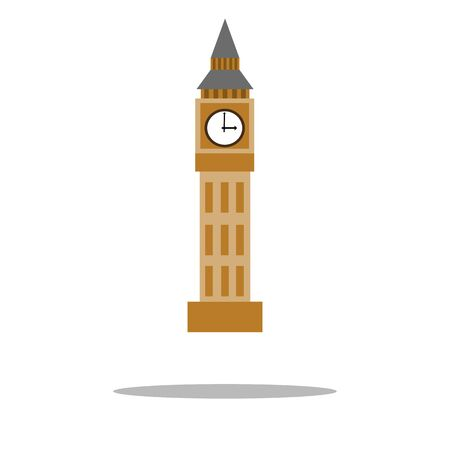 Clock tower isolated on white background. Vector, Illustration  イラスト・ベクター素材