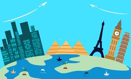 Travel all around the world. Vector, illustration 일러스트